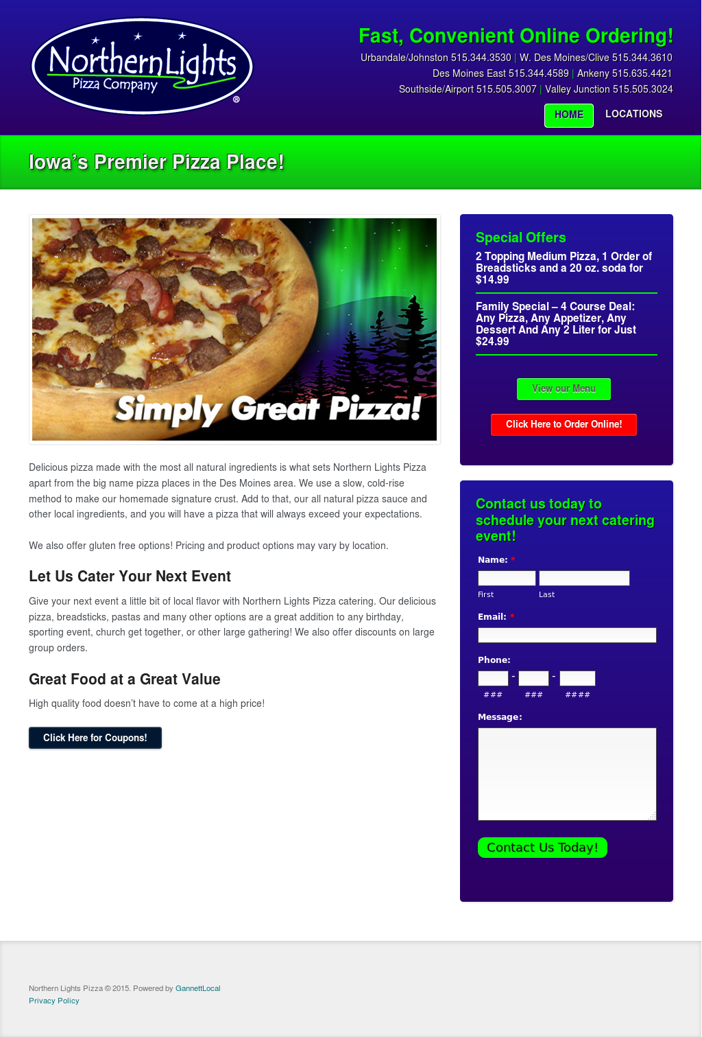 Northern Lights Pizza Website History
