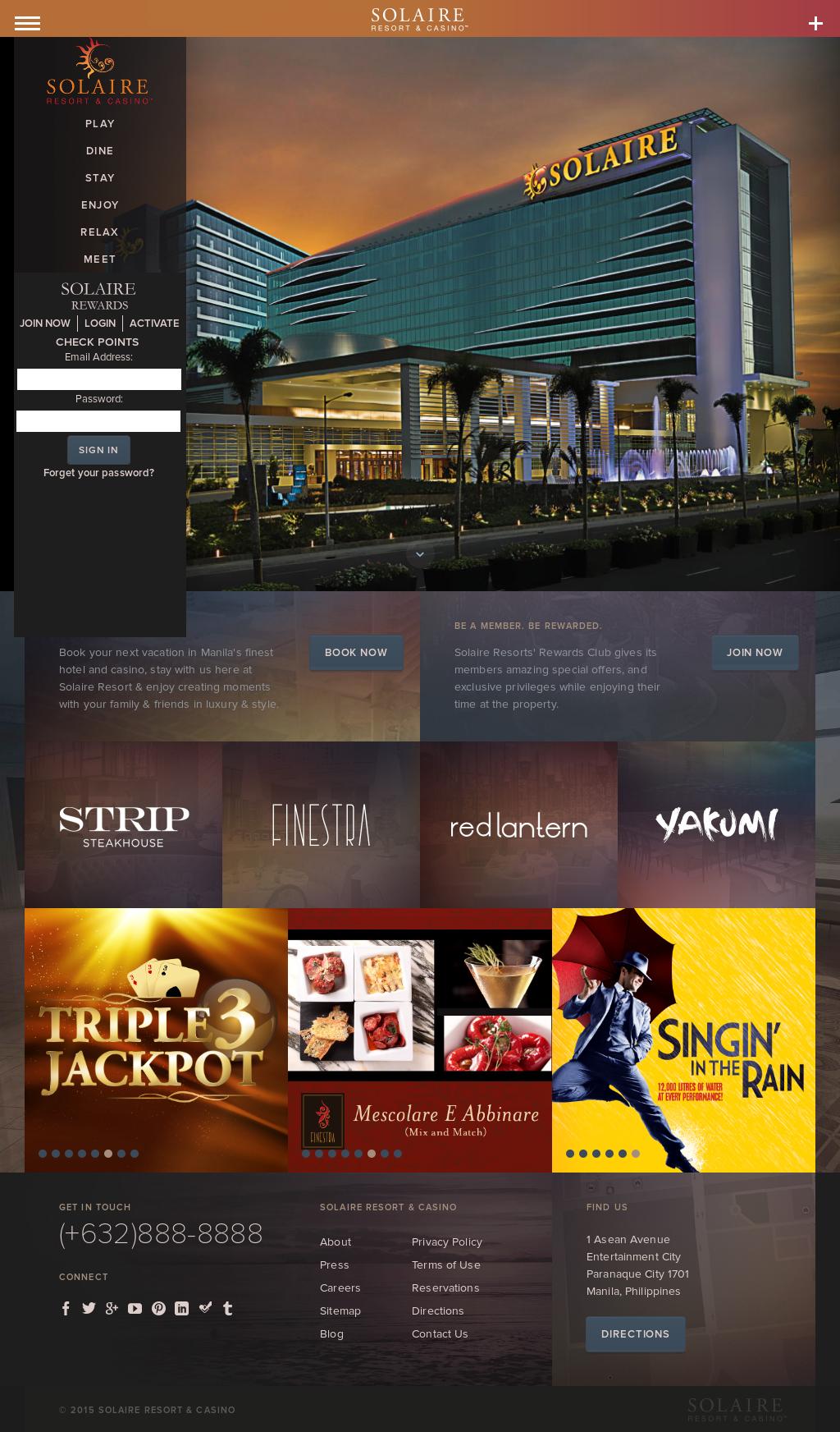 website for solaire casino