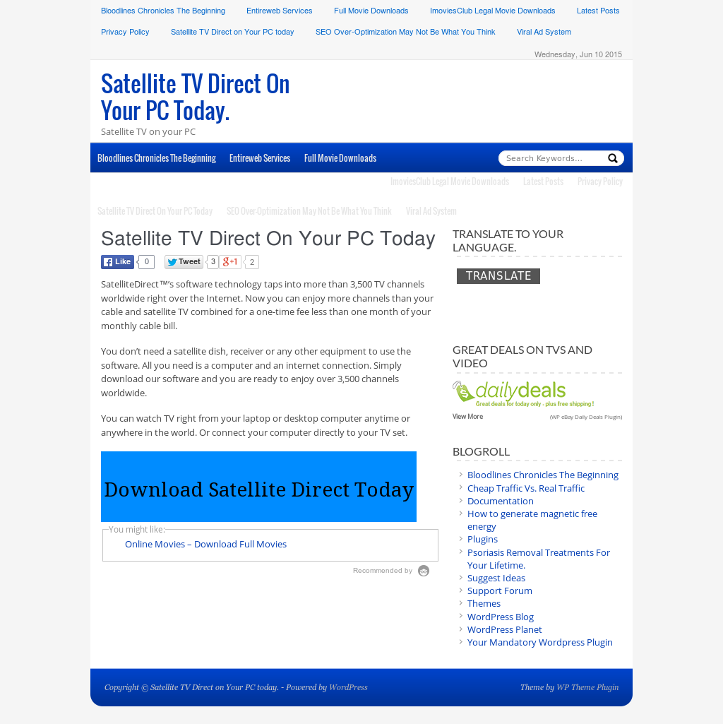 Satellite Tv Direct On Your Pc Today Competitors, Revenue