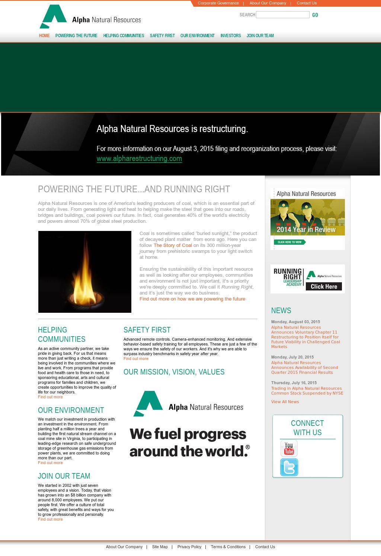 Alpha Natural Resources Recent News