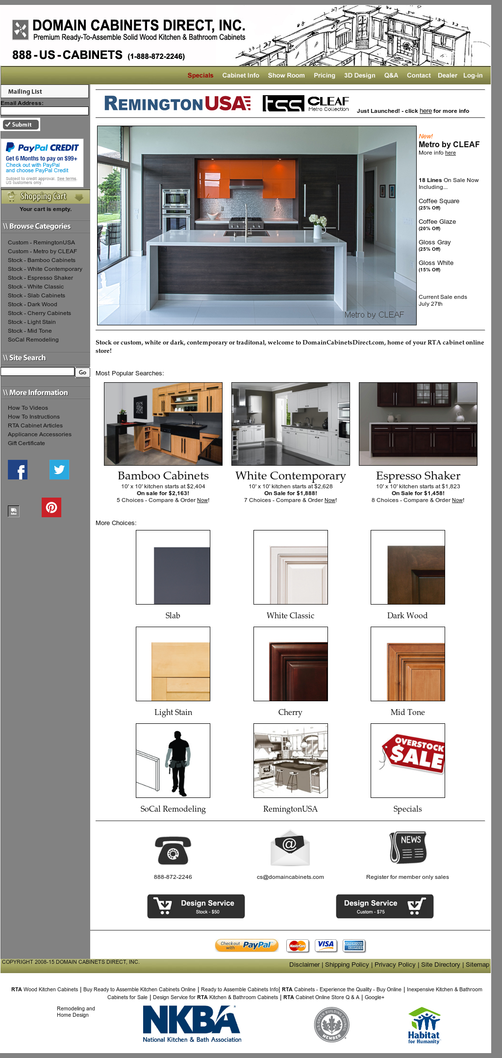 DOMAIN CABINETS DIRECT Website History