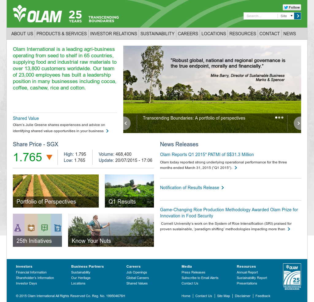 olam international Get olam international ltd (olam-sg:singapore exchange) real-time stock  quotes, news and financial information from cnbc.