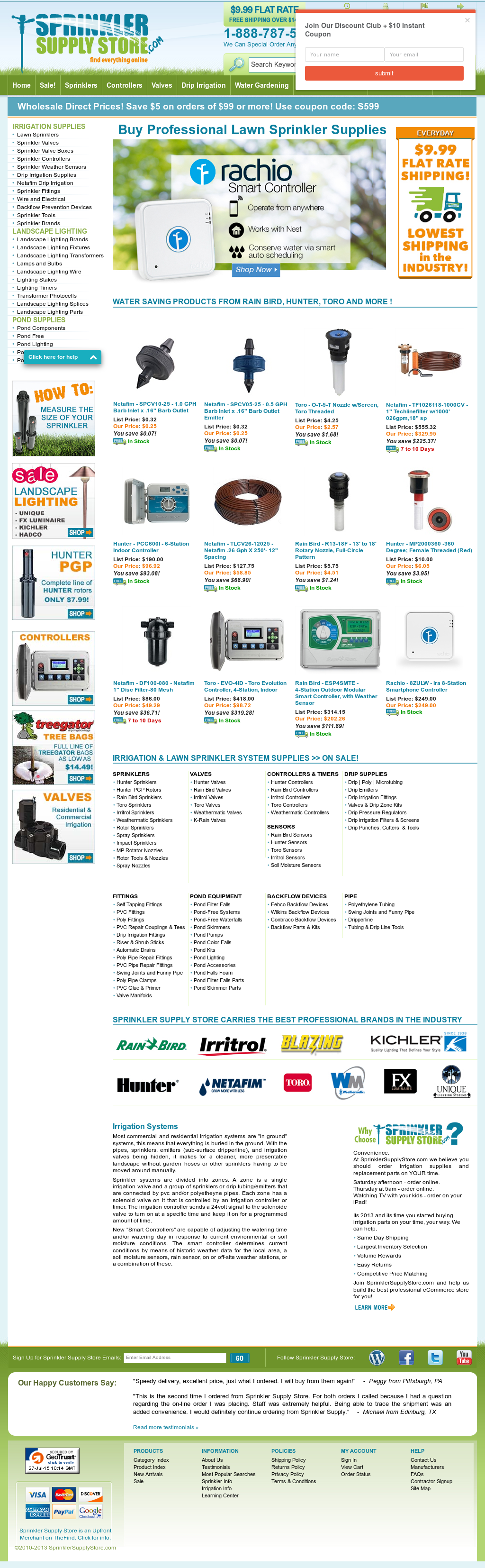 The largest selection of underground sprinklers including repair parts
