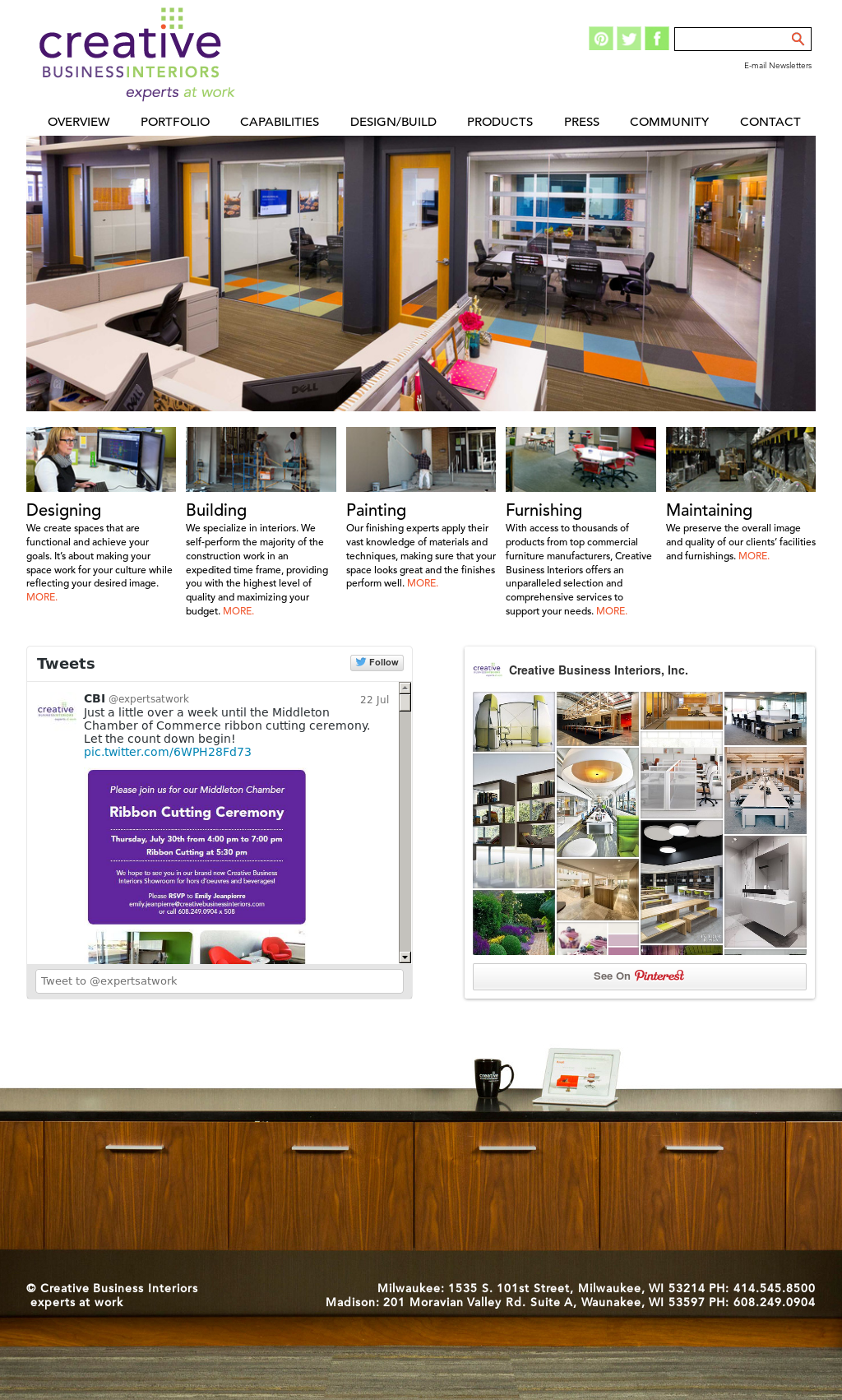 Creative Business Interiors Website History