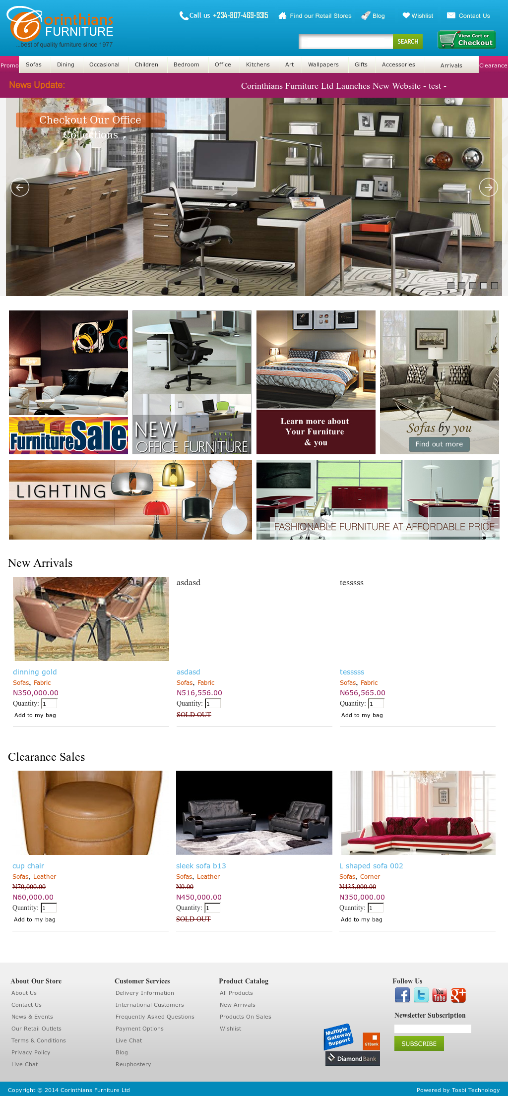 Corinthians Furniture Website History