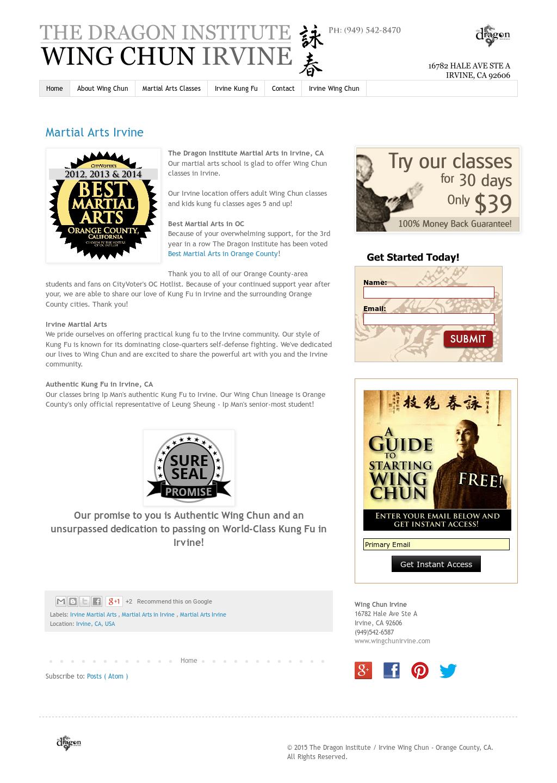 Irvine Wing Chun - Irvine, Ca Competitors, Revenue and Employees