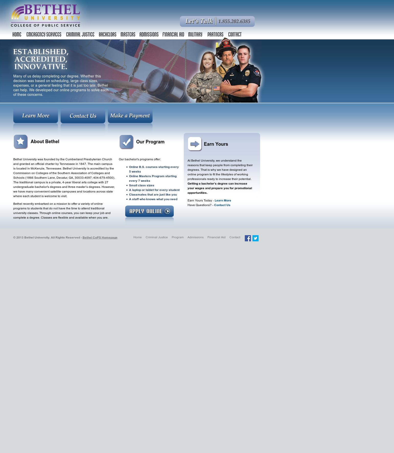 Bethel University Online >> Bethel University College Of Public Service Online
