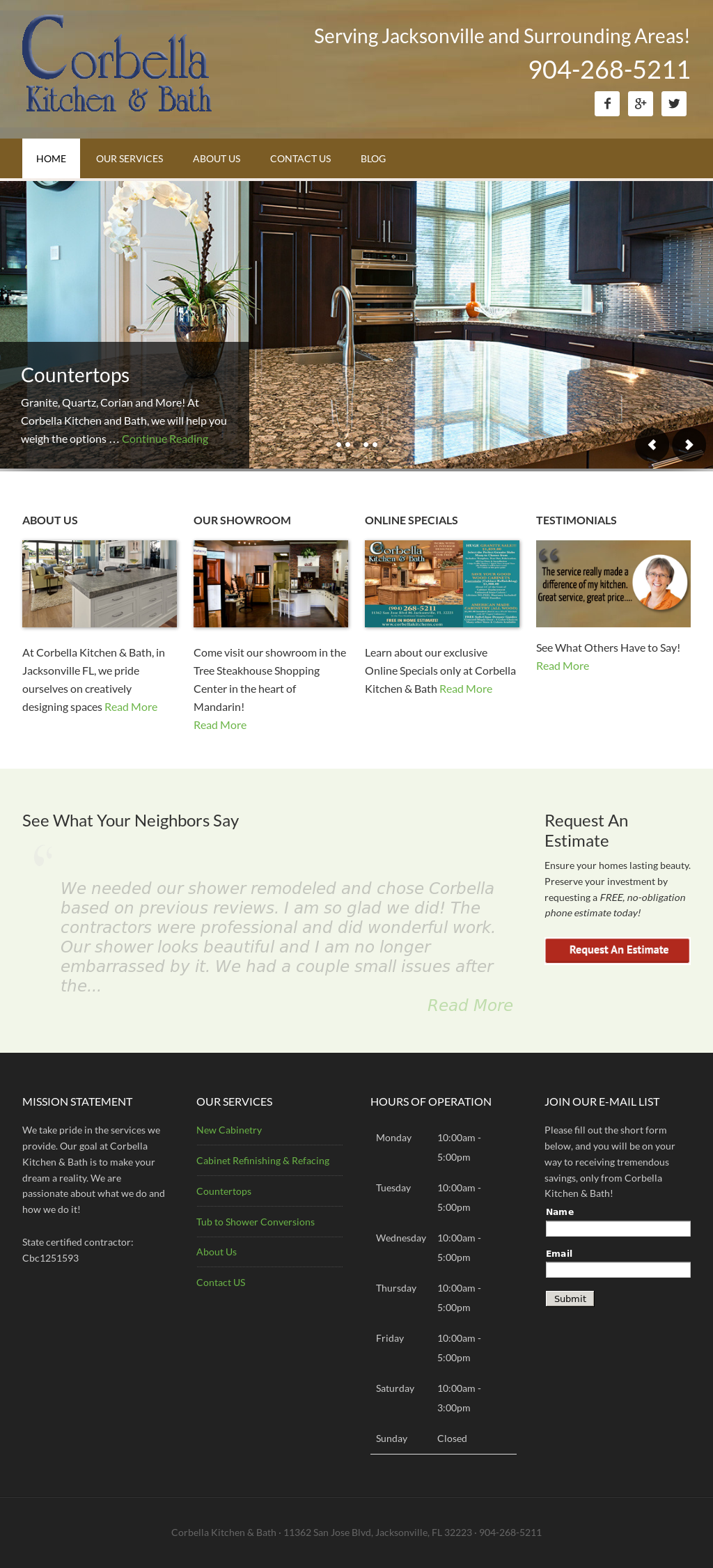 Corbella Kitchen And Bath Website History
