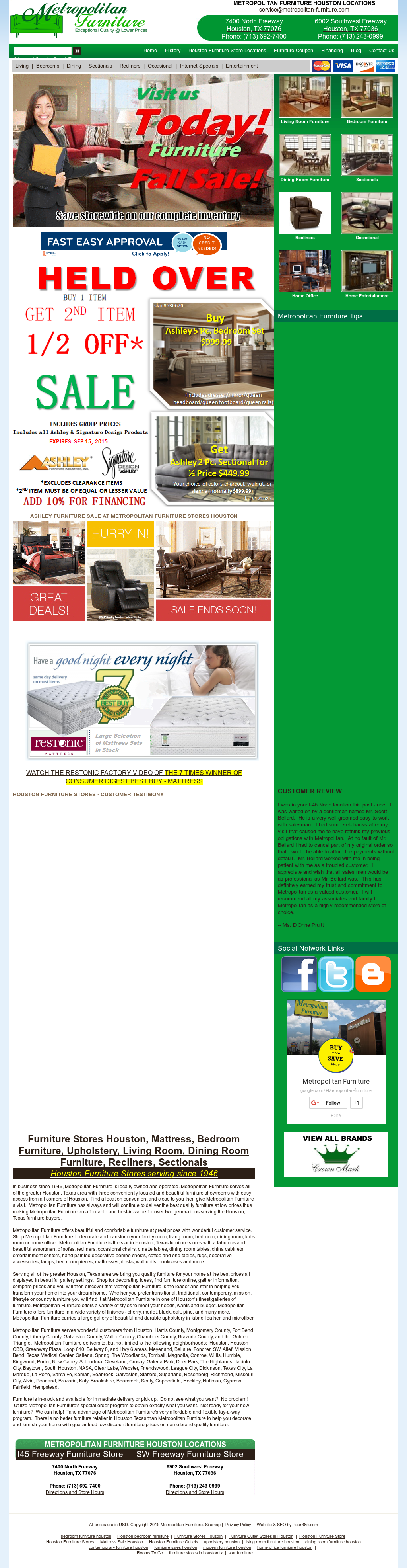 Metropolitan Furniture Website History