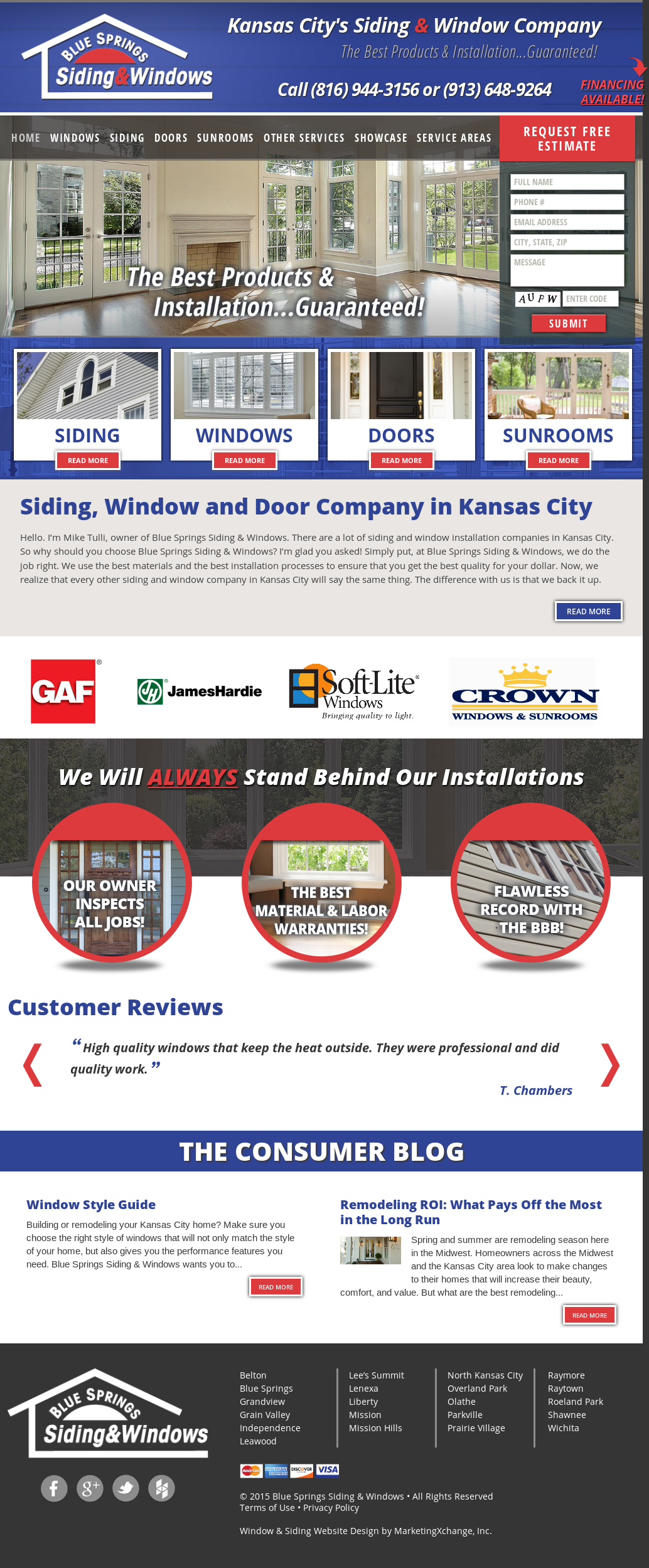 Blue Springs Siding Windows Compeors Revenue And Employees Owler Company Profile
