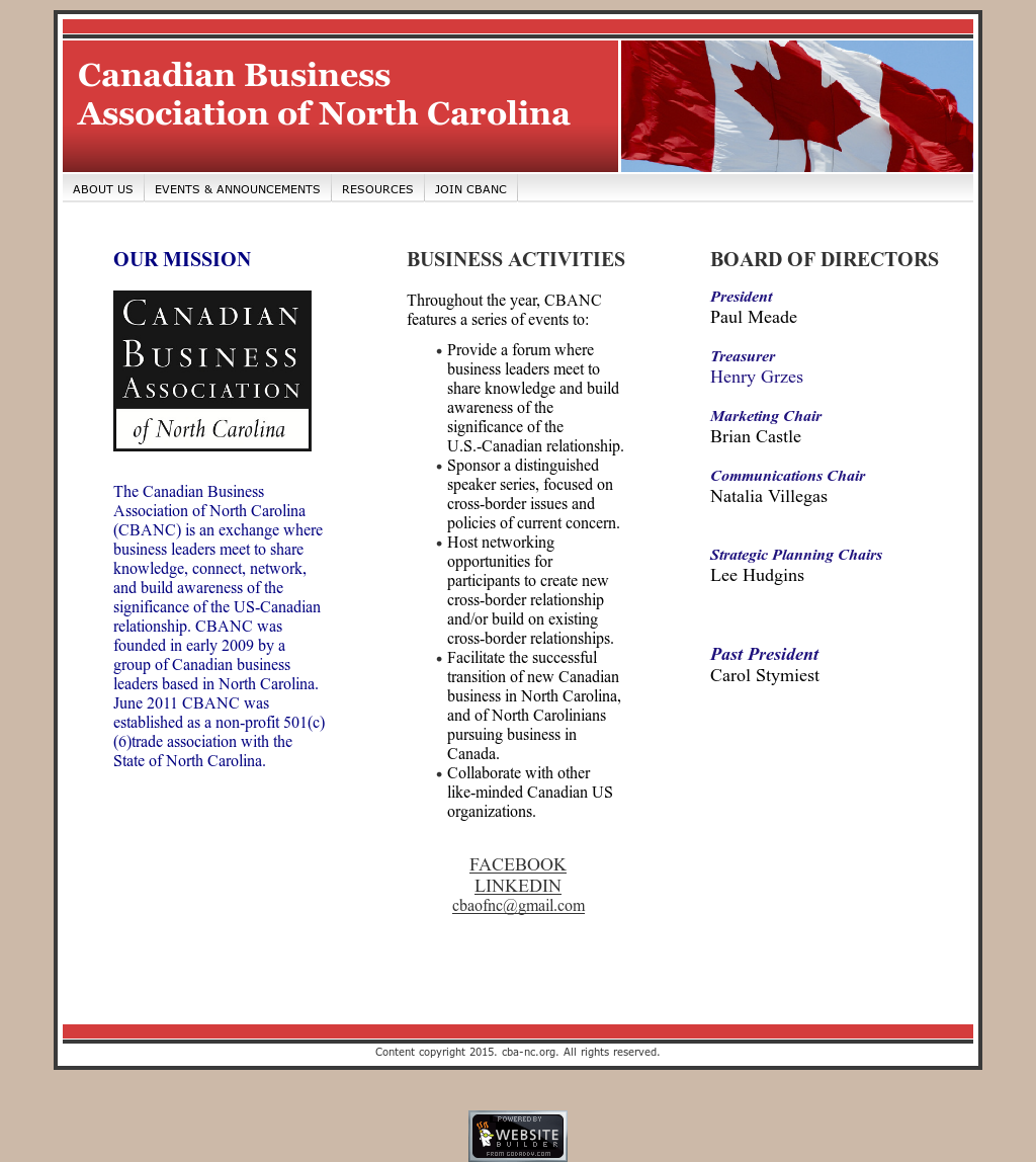 Canadian Business Association Of North Carolina (Cba-nc