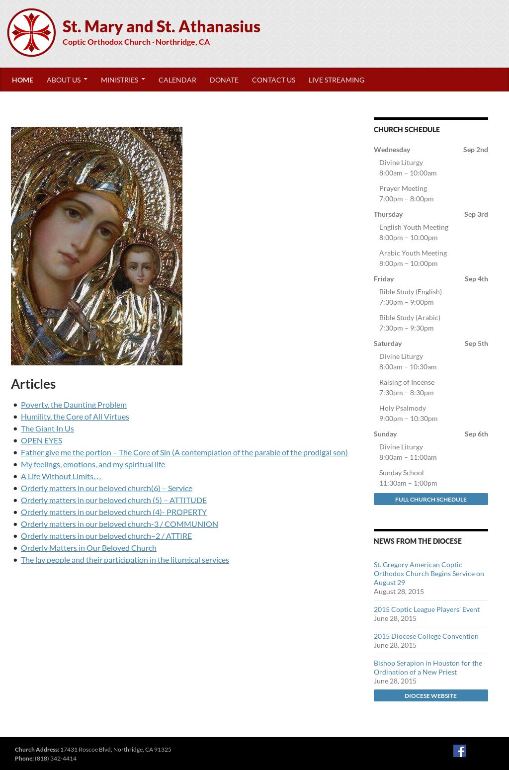 St Mary And St Athanasius Coptic Orthodox Church Northridge Ca