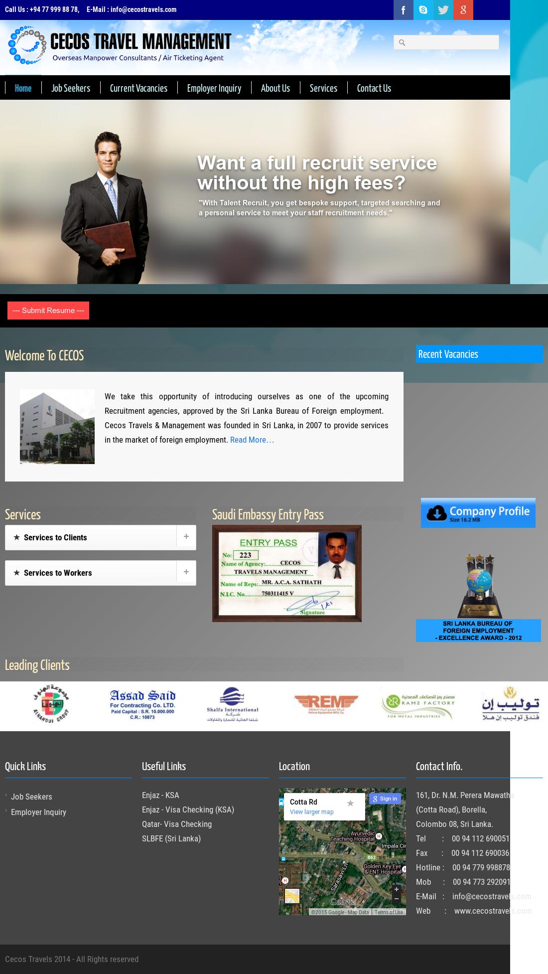 Cecos Travels Management website history Cecos Travels